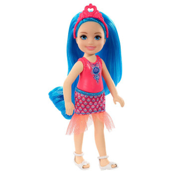 Barbie Dreamtopia Chelsea Sprite Doll, 5.5-inch, with Blue Hair Wearing Fashion and Accessories