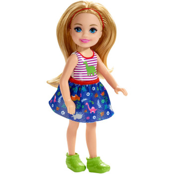This 5.5-inch (14 cm) Chelsea doll loves dinosaurs.