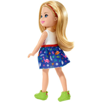 Barbie Club Chelsea - Blonde Girl Doll wearing Dinosaur Fashion