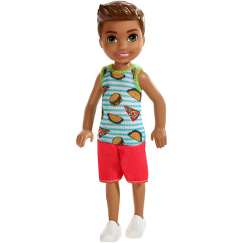This 5.5-inch (14 cm) doll celebrates his favourite food -- he wears a romper with pizza, hamburgers and tacos decorating the blue and white striped top!