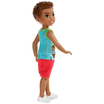 Barbie Club Chelsea - Brunette Boy Doll wearing Fast Food Fashion