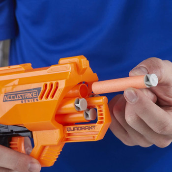 COMPATIBLE WITH ALL OFFICIAL NERF BLASTERS THAT USE ELITE DARTS including Elite, AccuStrike Elite, Zombie Strike, and Modulus toy blasters.