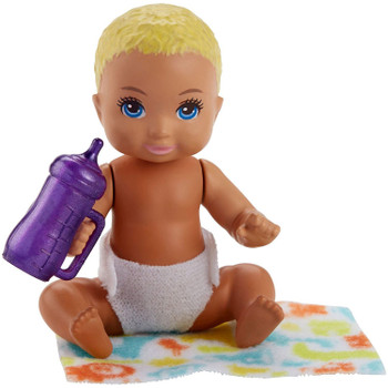 The baby doll has movable arm and leg joints so that it can be put to sleep and sits on its blanket