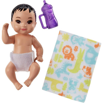 The babysitter set includes a baby figure with diaper, as well as a bottle and a baby blanket.