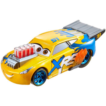 Cruz Ramirez 1:55 scale die-cast has iconic designs plus mag wheels, exposed exhaust pipes with flames, and moving engine pistons.