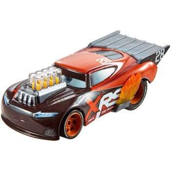 Tim Treadless 1:55 scale die-cast has iconic designs plus mag wheels, exposed exhaust pipes with flames, and moving engine pistons.