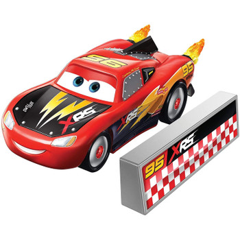 Lightning McQueen 1:55 scale die-cast car has a cool custom XRS deco and yellow flames that spin as you roll the car along!