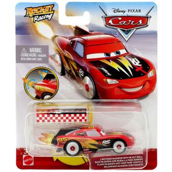 Disney Pixar Cars: XRS Rocket Racing LIGHTNING McQUEEN with Blast Wall in packaging.