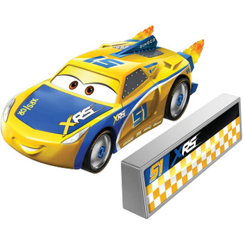Cruz Ramirez 1:55 scale die-cast car has a cool custom XRS deco and yellow flames that spin as you roll the car along!