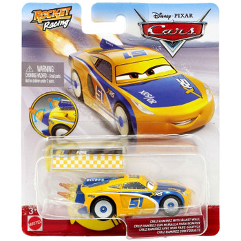 Disney Pixar Cars: XRS Rocket Racing CRUZ RAMIREZ with Blast Wall in packaging.