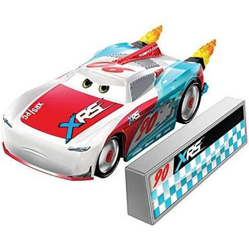 Paul Conrev 1:55 scale die-cast car has a cool custom XRS deco and yellow flames that spin as you roll the car along!