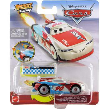 Disney Pixar Cars: XRS Rocket Racing PAUL CONREV with Blast Wall in packaging.