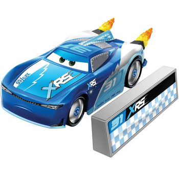 Cam Spinner 1:55 scale die-cast car has a cool custom XRS deco and yellow flames that spin as you roll the car along!