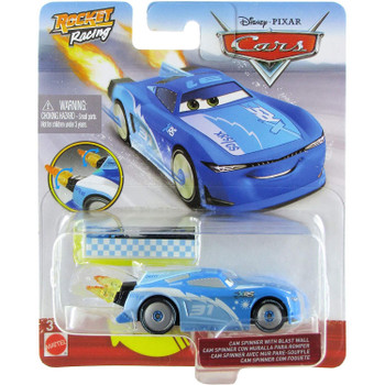 Disney Pixar Cars: XRS Rocket Racing CAM SPINNER with Blast Wall in packaging.