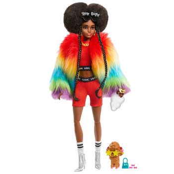 Barbie Extra Doll #1 in Rainbow Coat with Pet Poodle for Kids 3 Years Old & Up.