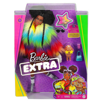 Barbie EXTRA Doll #1 in Rainbow Coat with Pet Poodle in packaging.