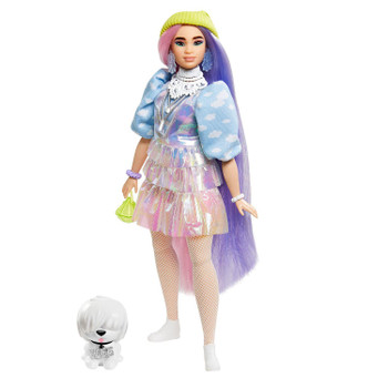 Barbie Extra Doll #2 in Shimmery Look with Beanie and Pet Puppy for Kids 3 Years Old & Up
