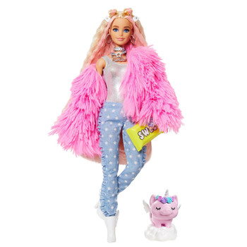 Barbie Extra Doll #3 in Fluffy Pink Jacket with Pet Unicorn-Pig for Kids 3 Years Old & Up