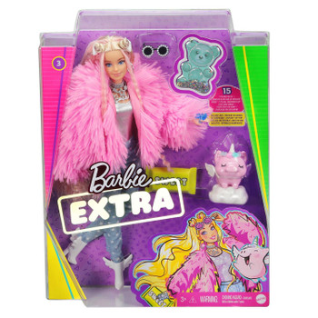 Barbie EXTRA Doll #3 in Fluffy Pink Jacket with Pet Unicorn-Pig in packaging.
