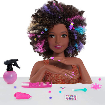 Contents: Barbie Rainbow Deluxe Sparkle Styling Head, comb, spray bottle, 3 barrettes, 8 plug & play gems, hair extension, sequin applicator, 8 hair sequins, nail wheel, applicator, and rainbow sticker sheet.