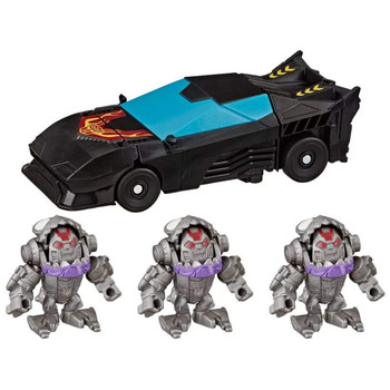 Four characters from the Cyberverse cartoon are featured in the Sharkticons Attack Environment Pack, including 1-Step Stealth Force Hot Rod and three Tiny Turbo Changer Sharkticon figures.