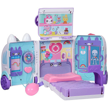 Then open up the ambulance to see it expand into a huge Kindi Kids' hospital room with so many amazing interactive Petkins and Shopkins to help heal your Kindi Kid Dolls!