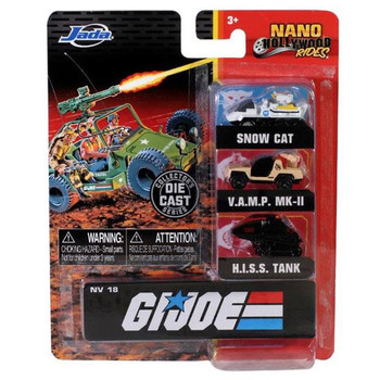 Nano Hollywood Rides G.I. JOE 3-Pack (NV-18) in packaging from the front.