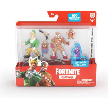 Fortnite Battle Royale Collection Duo Pack: Codename E.L.F. & Merry Marauder Figures in packaging.
