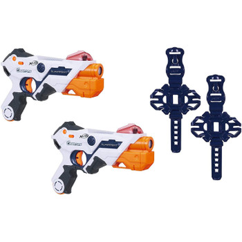 Face off in head-to-head live-action laser battles right out of the box with this pack of two AlphaPoint Nerf Laser Ops Pro blasters (8 x 1.5v AA (LR06) batteries required - not included)