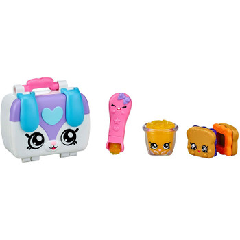 Comes with 3 Shopkins for a yummy lunch at Rainbow Kindi: A Stackable Sandwich, a Magic Spoon and a Fruit Cup treat