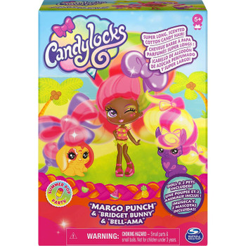 Candylocks MARGO PUNCH 3-inch Scented Collectible Doll and 2 Pets in packaging.