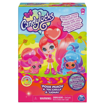 Candylocks POSIE PEACH 3-inch Scented Collectible Doll and 2 Pets in packaging.