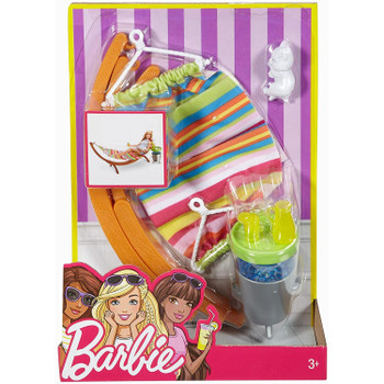 Barbie Outdoor Furniture Summer Day Hammock & Kitten Playset in packaging.