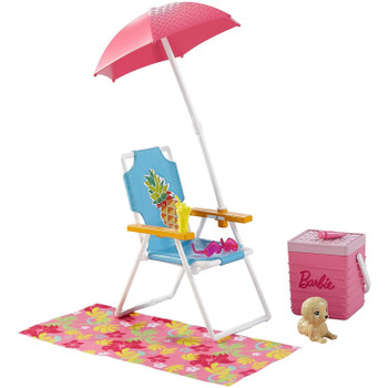 Get ready to soak up the sun with Barbie outdoor furniture sets that come with a pet friend! Summery themes set the scene for a perfect day outside -- like this colourful beach chair, cooler and blanket.