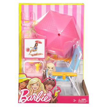 Barbie Outdoor Furniture Beach Chair & Puppy Playset in packaging.