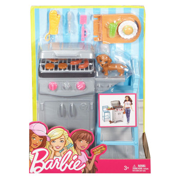 Barbie Outdoor Furniture Barbeque & Puppy Playset in packaging.