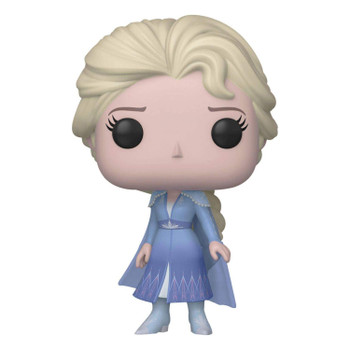 Elsa's dress is adorned with snowflakes, the pale blue dress is set off by a flowing cape split in two in the back.