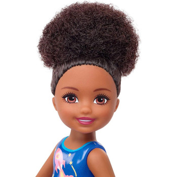 This African American Chelsea doll has a  cute bun hairstyle.
