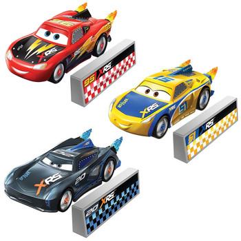 This Disney Pixar Cars: XRS Rocket Racing 3-pack contains the following characters: Lightning McQueen, Cruz Ramirez, and Jackson Storm.