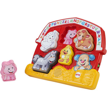 Teaches ABCs, animal names and sounds, and colours too!
