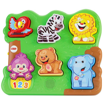 The Fisher-Price Laugh & Learn ZOO ANIMAL PUZZLE teaches counting 1-10, animal names and sounds, and colours too!