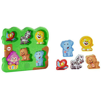 Animal puzzle pieces are easy for baby to grasp, promoting fine motor skills and imaginative play.