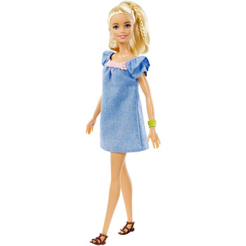 Barbie doll's denim dress has a trendy baby doll silhouette, pink neck accent and ruffled sleeves.