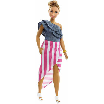 """Barbie doll's dress says, """"Bon Voyage!"""" with denim top and pink and white striped skirt."""
