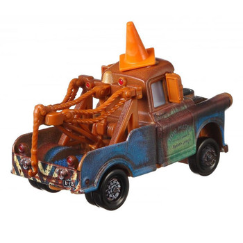 Disney Pixar Cars Deluxe MATER WITH CONE TEETH is approximately 1:55 scale with die-cast metal and plastic parts.
