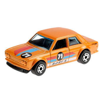 This 1:64 scale Hot Wheels Flying Customs '71 Datsun 510 features realistic details and cool, retro-style packaging.
