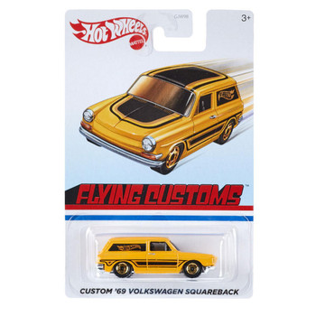 This 1:64 scale Hot Wheels Flying Customs Custom '69 Volkswagen Squareback features realistic details and cool, retro-style packaging.
