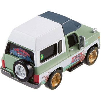 Approximately 1:55 scale Roscoe Deluxe vehicle is made of die-cast metal and plastic parts.