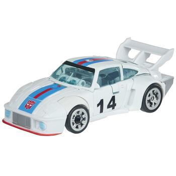 Autobot Jazz figure features classic conversion between robot and racecar modes in 20 steps.
