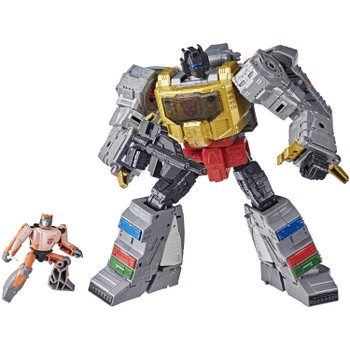8.25-inch (21 cm) Grimlock figure features vivid, movie-inspired deco, is highly articulated for posability and comes with a blaster accessory. Includes non-converting Autobot Wheelie figure that can sit on Grimlock figure in both modes.